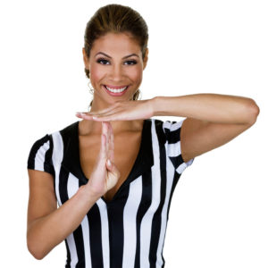 Coach needs a coach. Lady referee giving time out